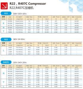 Mitsubishi Rotary Compressor-Fixed speed-R22-R407C