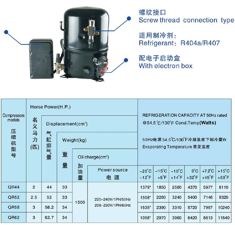 ANKANG XINGFA compressor screw thread connection type-R404A-R407C-1PH