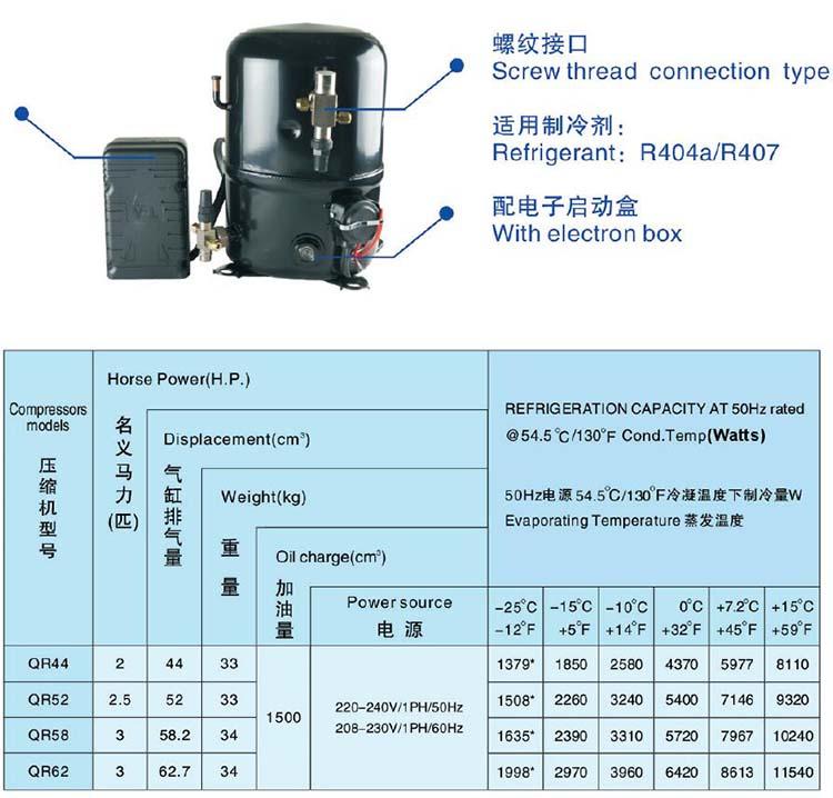 ANKANG XINGFA compressor screw thread connection type-R404A-R407C-1PH
