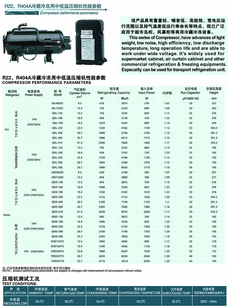 BOYANG BOYARD Rotary Compressor-Horizontal-Refrigeration-R22-R404A
