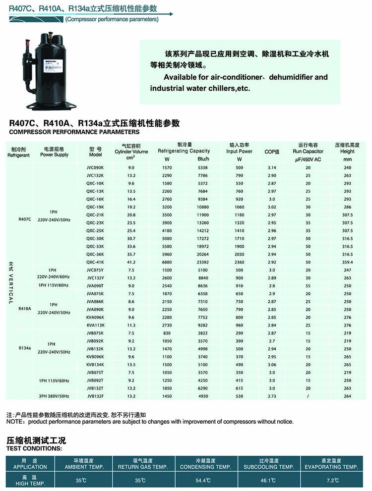 BOYANG BOYARD Rotary Compressor-Vertical-AC-R407C-R410A-R134A